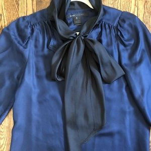 Marc Jacobs silk tie front blouse navy and black 2
